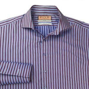 Thomas Pink Mens Blue SLIM FIT Shirt Sz M $105